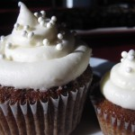 Rum Raisin Carrot Cake Cupcake with Cream Cheese Frosting and Sugar Pearls