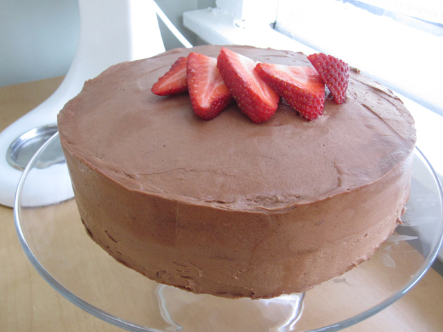 Strawberry Cake From Scratch With Chocolate Frosting