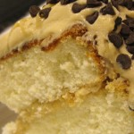 Slice of Dulce de Leche Cake, Whipped Caramel Frosting, Chocolate Chips
