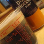 Young's Double Chocolate Stout Beer in Measuring Cup