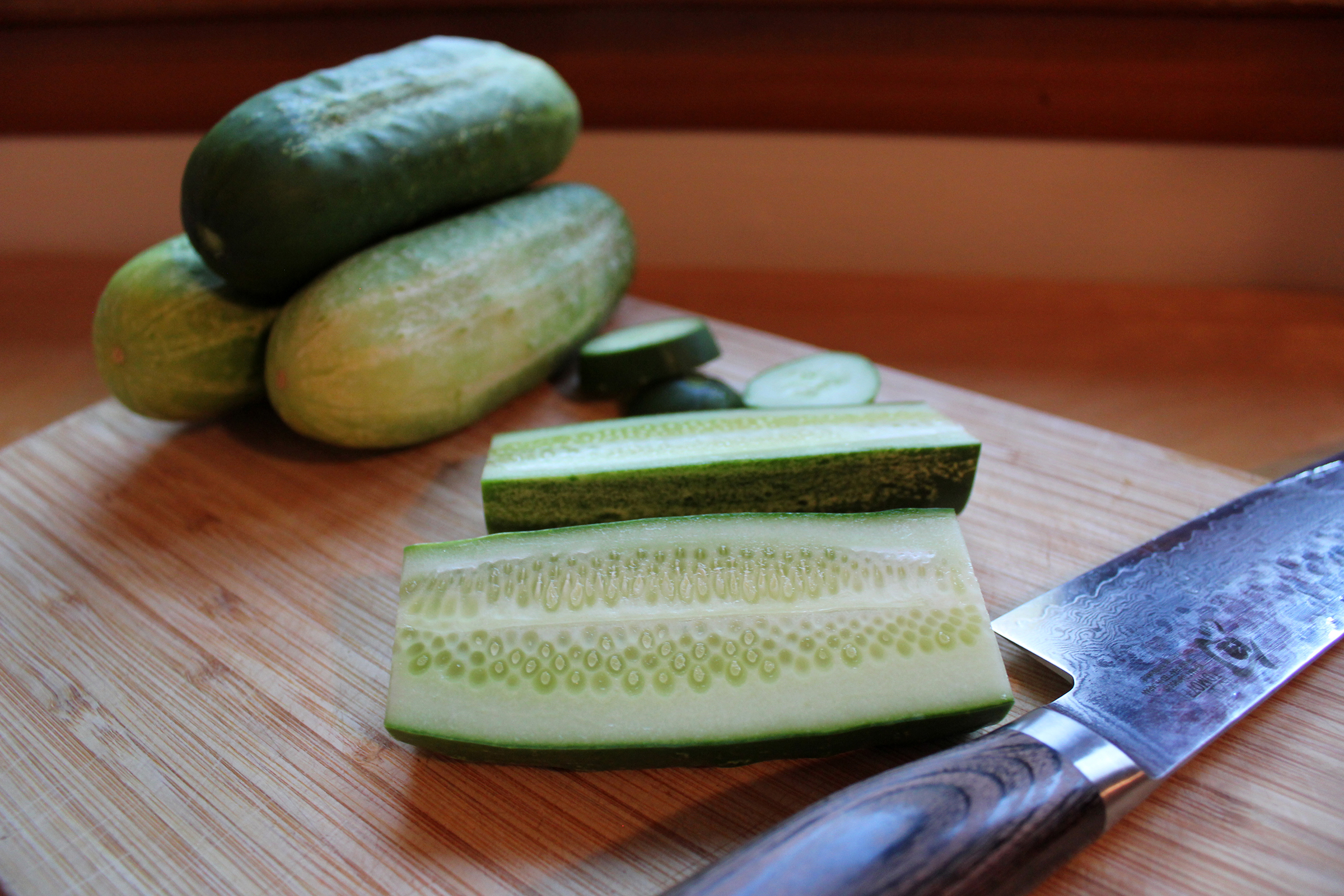 Slicking Fresh Pickling Cucumber Spears